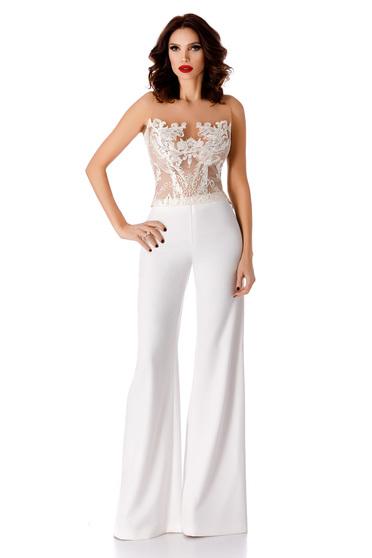 Fehér elegáns nadrág magas derekú bővülő nadrágszárakkal enyhén rugalmas szövet