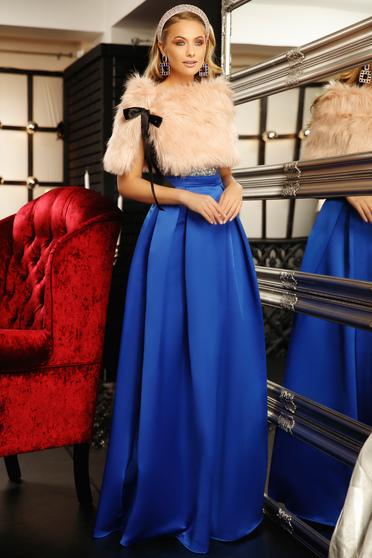Kék alkalmi harang ruha v-dekoltázzsal szatén anyagból flitteres díszítéssel