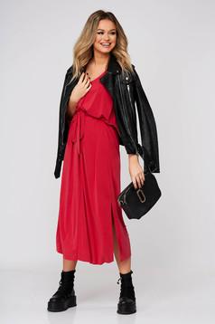Piros ruha hétköznapi midi harang rövid ujjú lábon sliccelt