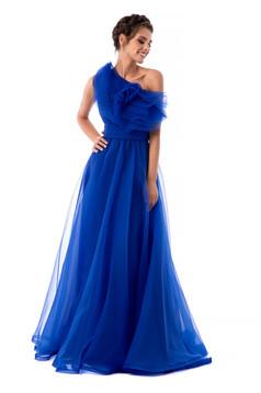 Kék Ana Radu luxus fodros egy vállas ruha tüllből béléssel