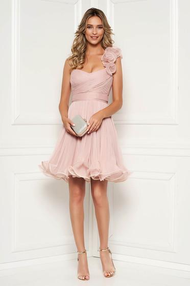 1b0a24066c Világos rózsaszín Ana Radu alkalmi fűzős tüll harang ruha mellrésznél  szivacsos övvel ellátva