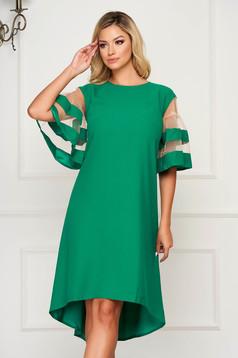Zöld elegáns bő szabású aszimetrikus ruha vékony anyag