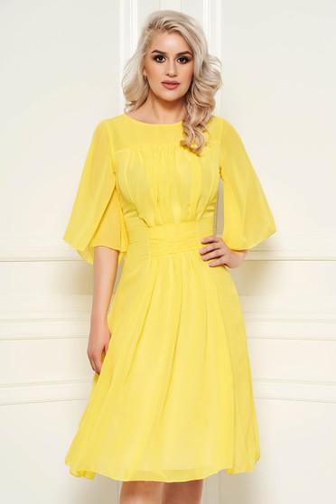 Sárga alkalmi harang ruha fátyol belső béléssel