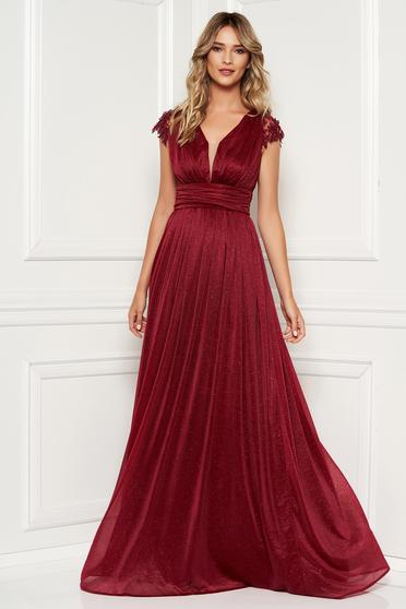 218193ee74 Burgundy alkalmi hosszú harang ruha csipke ujjal fényes anyagból