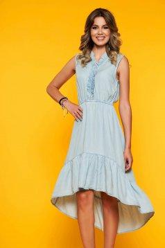 Kék ruha hétköznapi midi harang aszimetrikus ujj nélküli derékban rugalmas