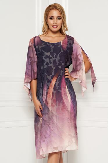 cdec73a2dd Lila elegáns ruha kivágott ujjrésszel egyenes szellős, lenge, anyagból  kidomborodó virágokkal