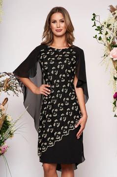 Fekete alkalmi midi ruha enyhén rugalmas szövetből készült csipkés átfedés fátyol anyagátfedés egyenes