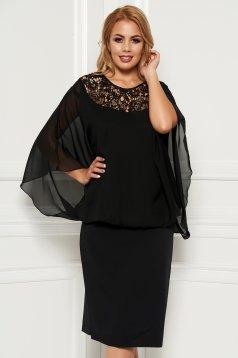 Fekete alkalmi midi rugalmatlan anyag muszlin anyagátfedés ruha csipke díszítéssel