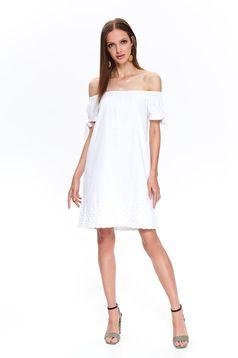 Fehér hétköznapi bő szabású rövid pamutból készült ruha