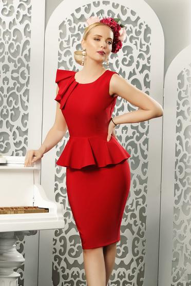 Piros elegáns ceruza ruha peplummal enyhén rugalmas anyag