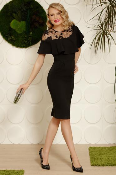 Fekete midi elegáns fodros ceruza szövettel ruha flitteres díszítés hímzett betétekkel