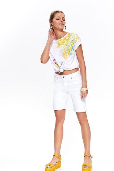Fehér casual háromnegyedes elöl zsebes rövidnadrág farmerarnyagból