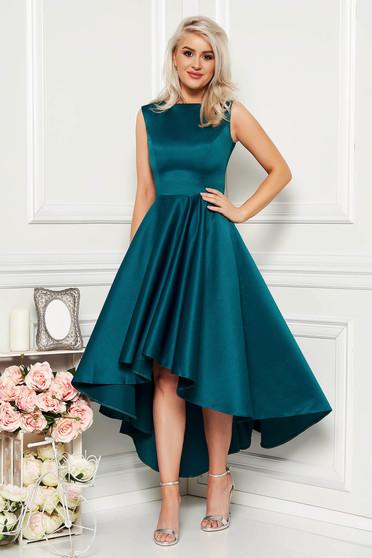 3cc639d6f6 Zöld szatén anyagból elegáns alkalmi aszimetrikus ujjatlan harang ruha