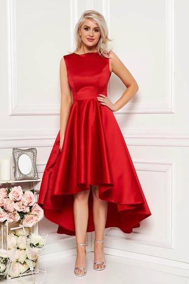 ab08ba1805 Piros szatén anyagból elegáns alkalmi aszimetrikus ujjatlan harang ruha