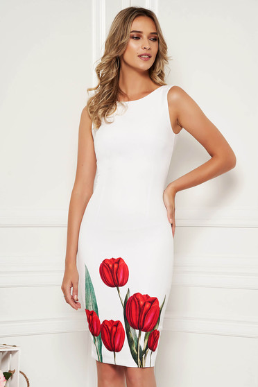 0eab309a736f Elegáns alkalmi virágmintás fehér StarShinerS ceruza ruha kivágott  hátrésszel