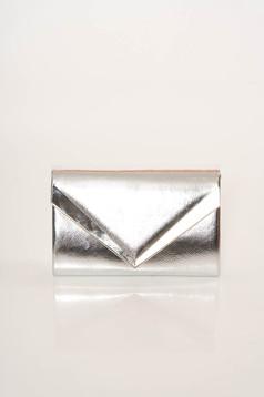 Ezüst elegáns műbőr táska lánccal