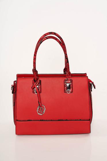 Piros elegáns kígyómintás táska műbőrből