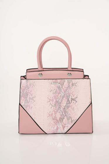 Pink irodai műbőr táska rövid fülekkel