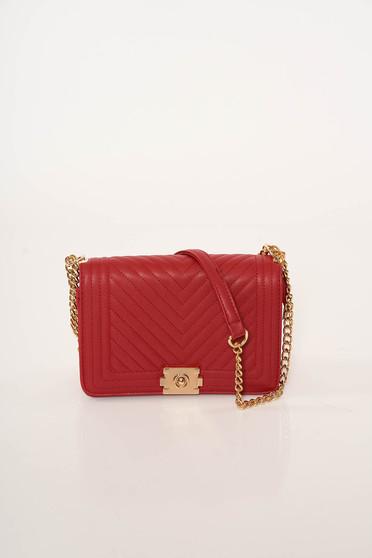 Piros irodai műbőr táska steppelt anyagból