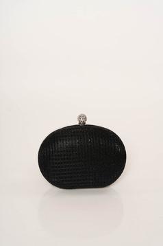 Fekete alkalmi táska hosszú, lánc jellegű akasztóval elegáns csillogó díszítések csillogó szál