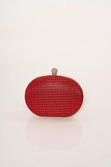 Piros alkalmi táska hosszú, lánc jellegű akasztóval elegáns csillogó díszítések csillogó szál