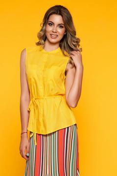 Sárga ujj nélküli bő szabású elegáns rövid női ing
