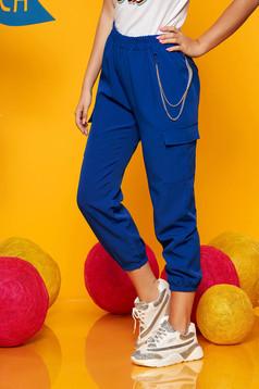 Kék casual magas derekú 3/4-es nadrág tartozékkal