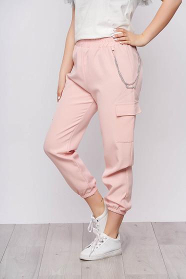 Rózsaszínű casual magas derekú 3/4-es nadrág tartozékkal