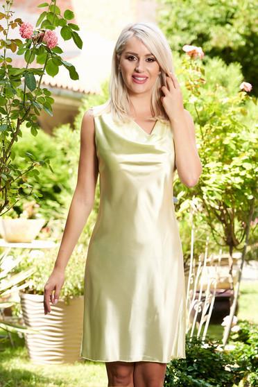 Világos zöld ujjatlan elegáns hétköznapi egyenes rövid ruha szatén anyagból