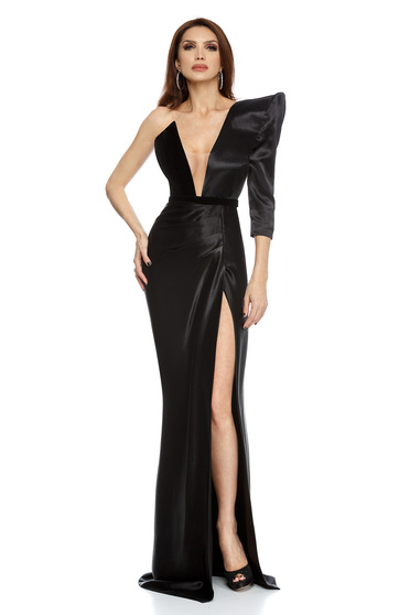 Fekete alkalmi sellő ruha ruha v-dekoltázzsal szaténból