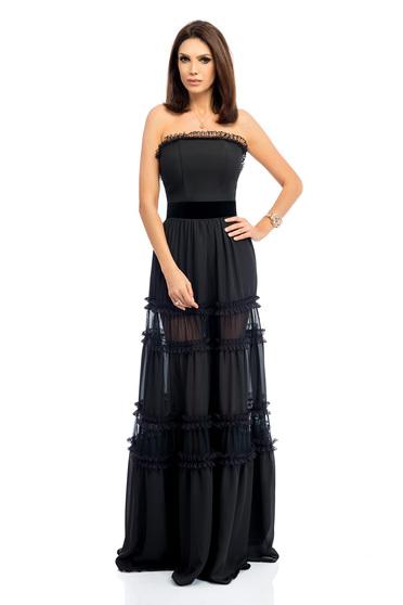 Fekete elegáns fűzős alkalmi harang ruha