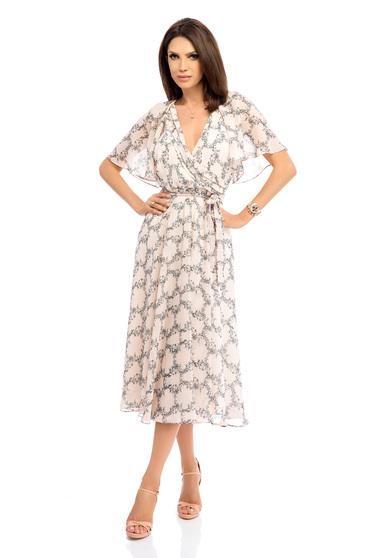 Bézs casual ruha pillangó szabású ujakkal