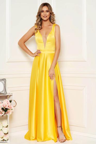 Sárga elegáns szatén harang ruha v-dekoltázzsal