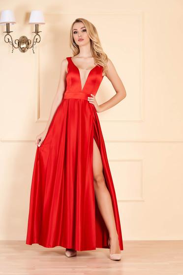 Piros elegáns szatén harang ruha v-dekoltázzsal