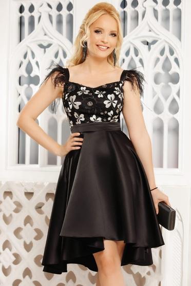 Fekete alkalmi elegáns szatén aszimetrikus harang ruha ujj nélkül
