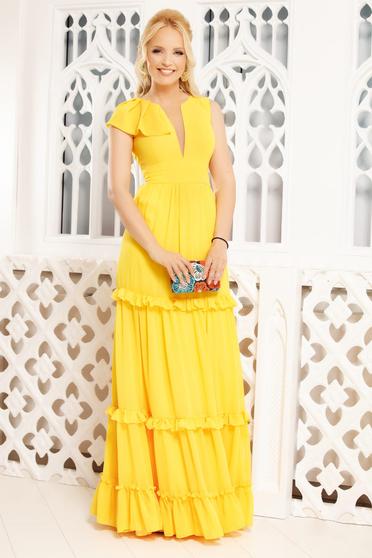 Sárga fodros v-dekoltázzsal ruha muszlinból, V dekoltázzsal