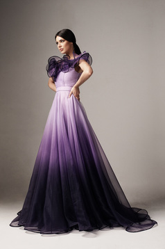 Lila Ana Radu luxus harang ruha degradéban eltávolítható övvel tüllből