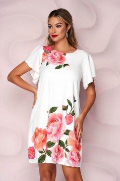 Fehér StarShinerS elegáns hétköznapi harang virágmintás muszlin ruha pillangó típusú ujjakkal