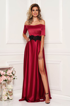Burgundy elegáns harang hosszú estélyi ruha szaténból