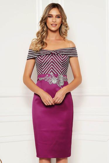 Alkalmi elegáns midi lila ceruza ruha szatén anyagból