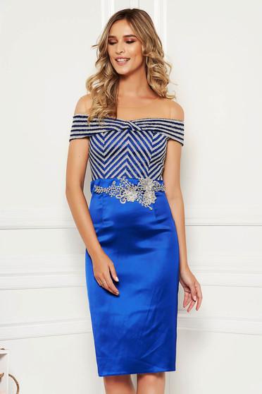 Alkalmi elegáns midi kék ceruza ruha szatén anyagból