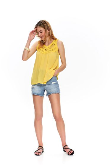 Sárga casual bő szabású ujj nélküli női blúz