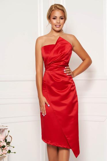 Piros alkalmi midi ceruza ruha szaténból