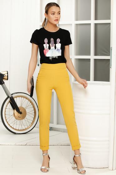 Fekete casual bő szabású póló rövid ujjú vékony anyag