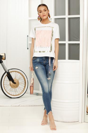 Rózsaszínű casual bő szabású póló rövid ujjú szellős anyagból