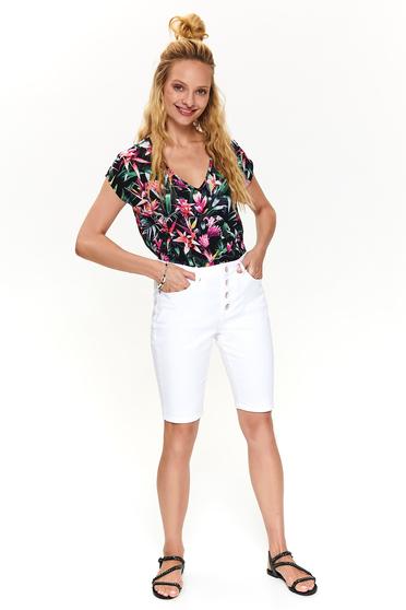 Fehér casual rövidnadrág pamutból
