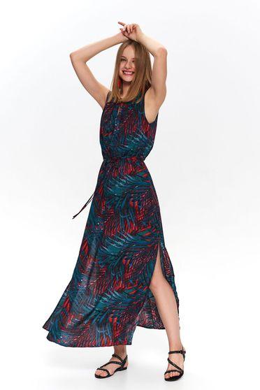Piros virágmintás casual ujj nélküli ruha övvel ellátva