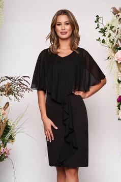 Fekete alkalmi karcsusított szabású ujjatlan midi ruha enyhén rugalmas szövetből és muszlin anyagátfedés
