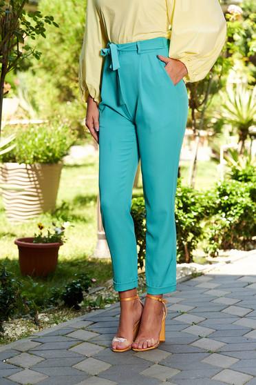 Türkiz nadrág casual hosszú elöl zsebes övvel ellátva