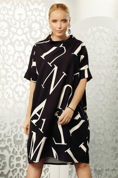 Fekete casual bő szabású midi bélés nélküli magasnyakú ruha